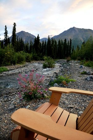 McKinley Creekside Cabins: This could be YOUR chair, looking downstream.