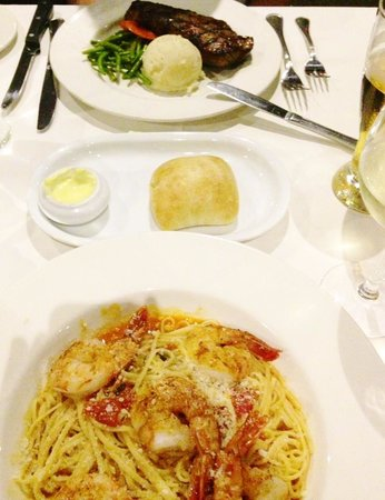 Vieux-Port Steakhouse: Linguini with Shrimps, NY Cut Strip