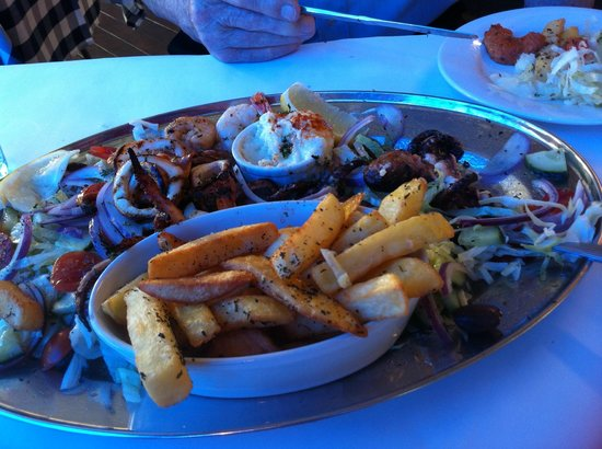 Kafe Meze: Seafood Meze platter for 2 (partly eaten..!)