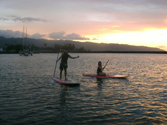 Stand Up Paddle Lessons -- Rainbow Watersports Adventures: sunset view!