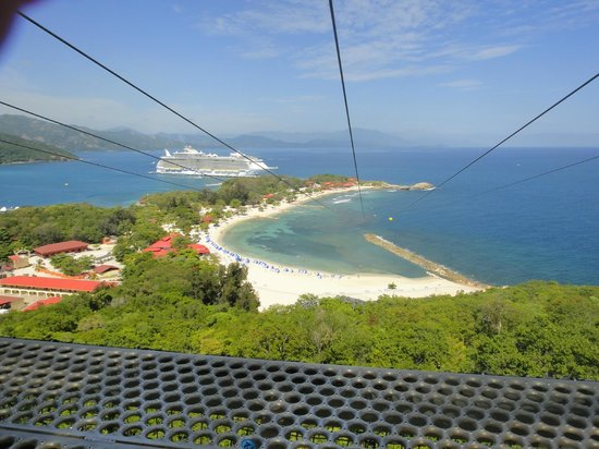 Dragons Breath Zipline: View of the Allure of the Seas from the top of the zipline