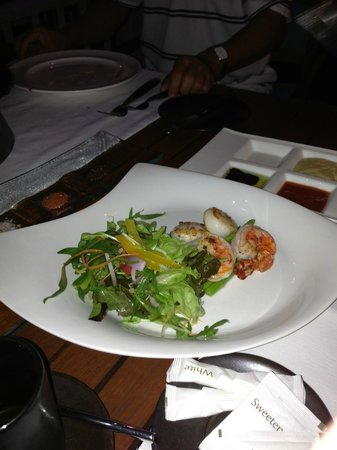 Seared scallops and tiger prawns