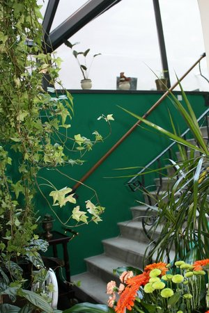 Staircase to terrace area at Hotel Grodek