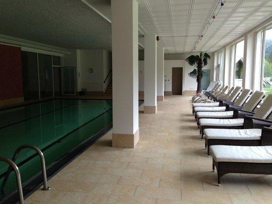 Hotel Diamant : piscina con vetrata e giardino esterno