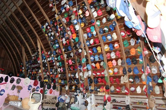 Hauser's Superior View Orchard: Small part of hat collection, with toy tractors below