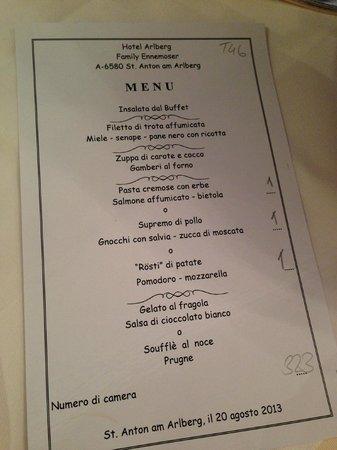Hotel Arlberg: menu