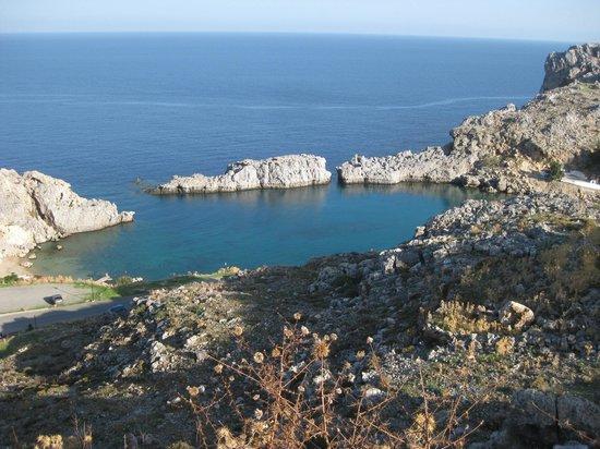 Agios Pavlos Beach (Saint Paul): St Pauls bay from the Lindos side