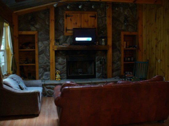 Springwood Cabins: Living Room Fireplace