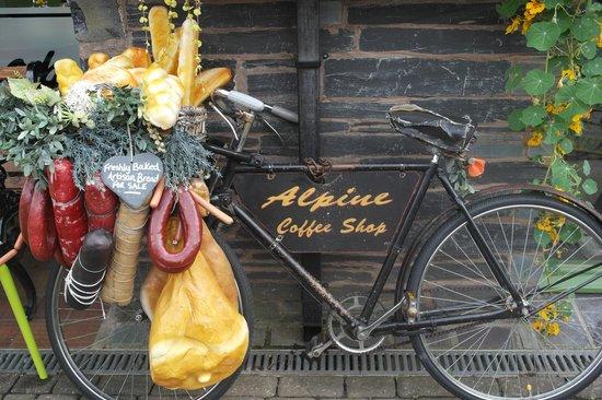Alpine Coffee Shop: Quirky little bike outside