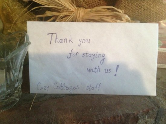 Cozy Cottages & Otter Valley Winery : tip envelope
