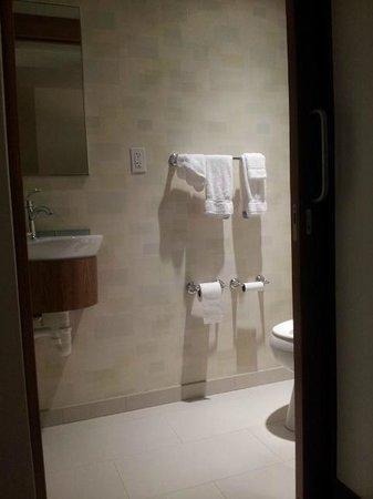 SpringHill Suites Cincinnati Airport South: Private toilet w/ sliding door
