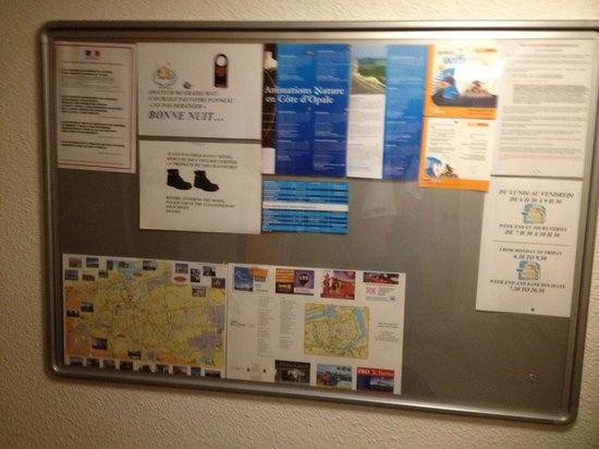 hotelF1 Calais Coquelles: Notice board....Wi Fi was offered but difficult top set up