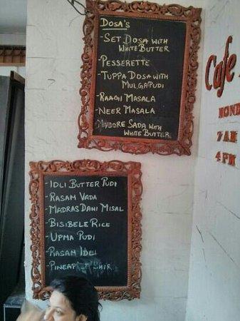 Cafe Madras: the menu