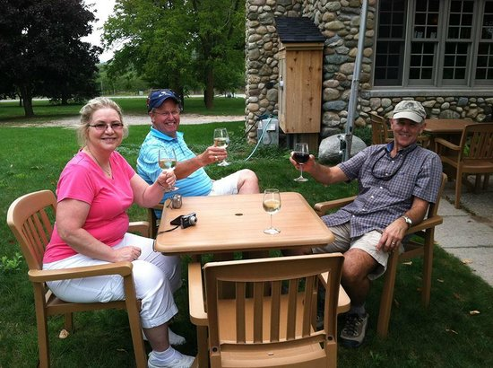 Grand Traverse Bike Tours: Resting up at Shady Lane Cellars before starting the next leg of our journey