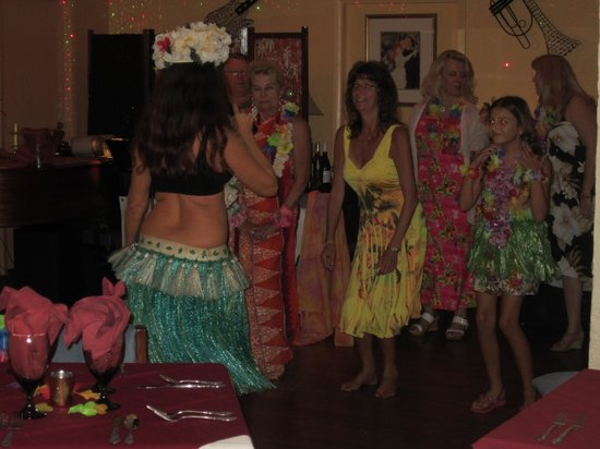Riviera Supper Club : The Hula girl demonstrates some moves to some restaurant patrons.