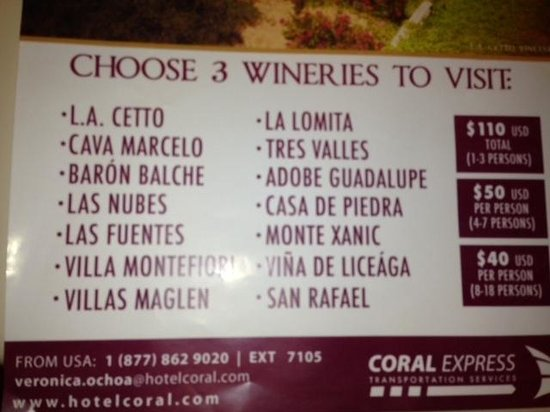 Hotel Coral & Marina: Wine tours available through the hotel