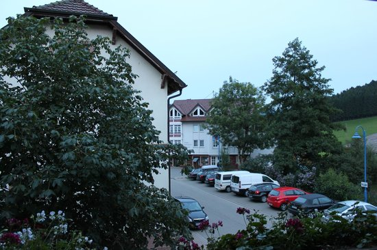 Gasthof Hirschen-Dorfmühle: View of town and parking from room