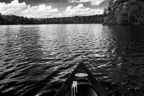 White Pine Camp: on a canoe