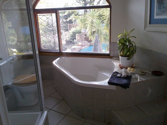 Blue Oyster B&B: the fabulous bathroom with a view!