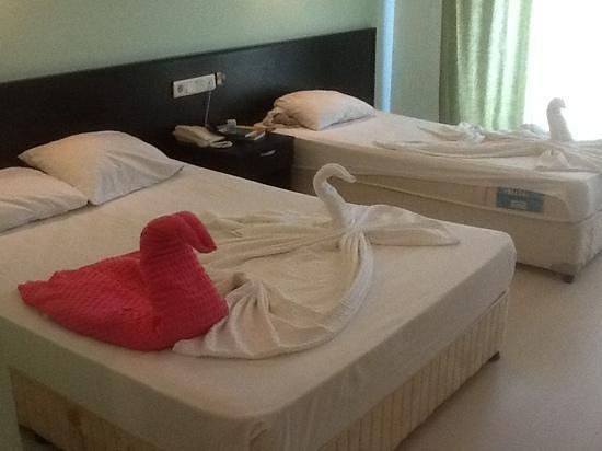 Larissa Hotel Beldibi: каждый раз после уборки -лебеди