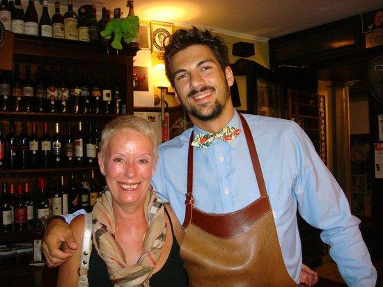 Enoiteca Mascareta: My wife with our waiter.