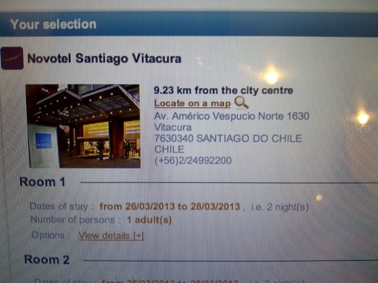 Novotel Santiago Vitacura: Urgent Booking..from a not-so-good motel in terms of service and room but food was good.
