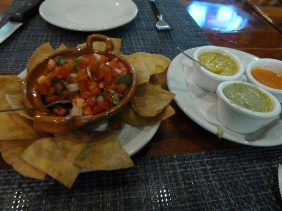 El Carnicero: Nachos and dips. The garlic mayo (green) was really good!