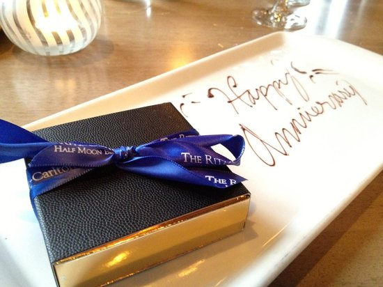 Complimentary Happy Anniversary chocolate treat (from Navio at the Ritz in HMB)
