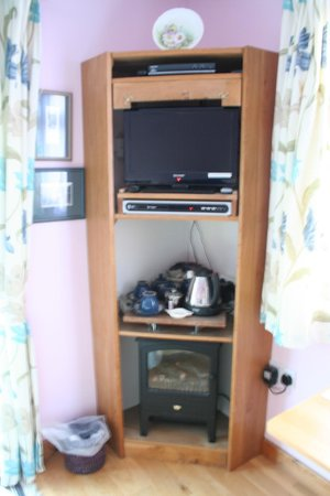 The Railway Cottage: TV, stove and tea making area