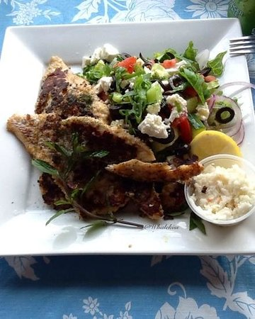 Mo's Grill & Diningroom: Grilled Haddock with Greek salad, Yummy!