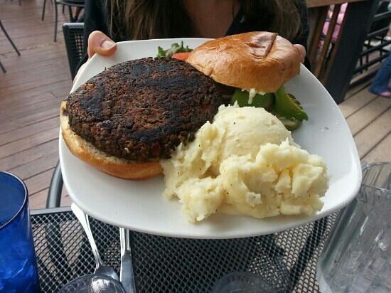 Kenosha Steakhouse: black bean burger. no cheese. side of mashed taters.