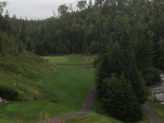 Superior National Golf Course: #5 narrow fairway, at bottom of 100 foot drop - Cannon 9
