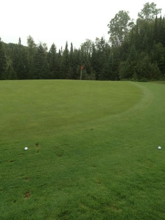 Superior National Golf Course: #5, severely slanted green Cannon 9