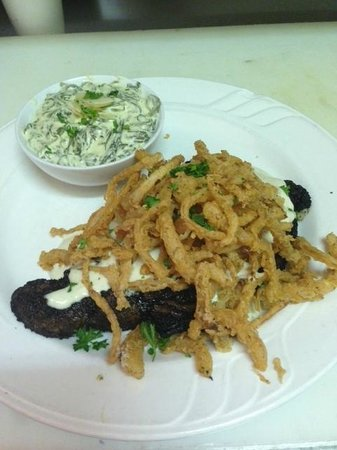 Southern Landing Restaurant: Black and Blue Ribeye with Onion Straws Special