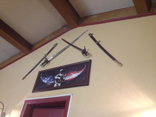 Fort Davidson Restaurant: relics on the wall.