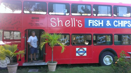 Shell's Double Decker Fish & Chips : Ted checking out the bus