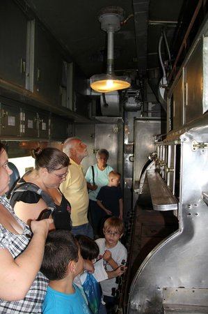 Historic Railpark and Train Museum: Tour members explore the dining car kitchen.