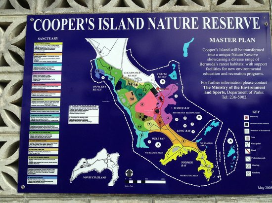 Map Of The Clearwater BeachCoopers Island Nature Reserve - Bermuda islands map