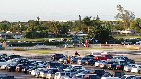 Sun Life Stadium: private chopper landing at SunLife Stadium for a Dolphins game