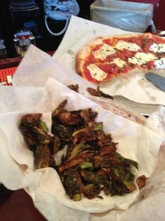 Joe Pizza: basket of fried Brussels sprouts and a margarita pizza