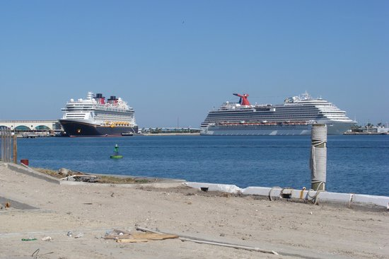 Canaveral Ocean Racer: Looking across at Cruise Ships