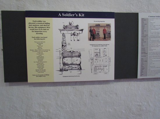 Fort St. Catherine: Display on how a soldier cot was to look like