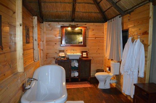 Nehimba Lodge: large, beautiful bathroom. Also enjoyed the outdoor shower!