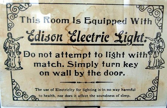 American Computer Museum: Signs in hotels when electric bulbs were first installed
