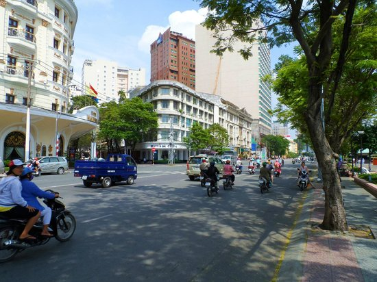 Riverside Hotel Saigon: The hotel is next to the big white building. The road doesn't appear on their website