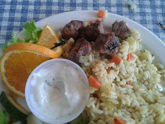 Dina's Place : THIS is how much meat was on the Beef Souvlaki dinner skewer! Maybe 2 oz.