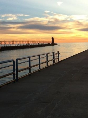 South Haven Lighthouses: Sunset Sept 3, 2013