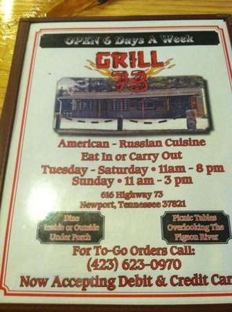 Grill 73 : their menu!
