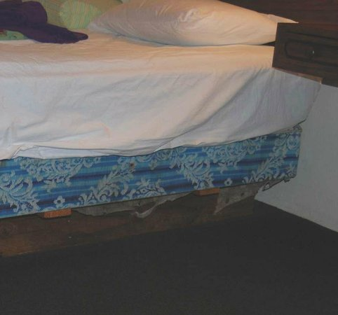 Economy Inn Florence: That's how the bed looks like once you take the cover out so you go to sleep