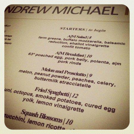 Andrew Michael Italian Kitchen: Menu